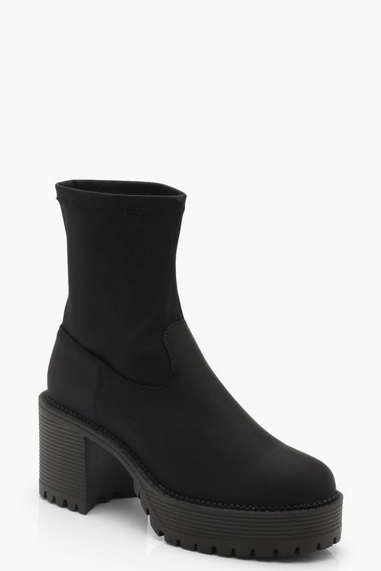 Black Chunky Cleated Sock Boots
