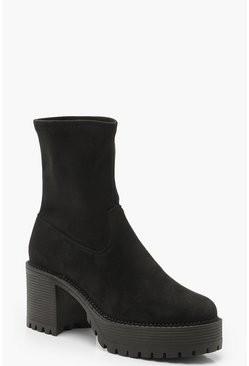 Womens Black Chunky Cleated Sock Boots