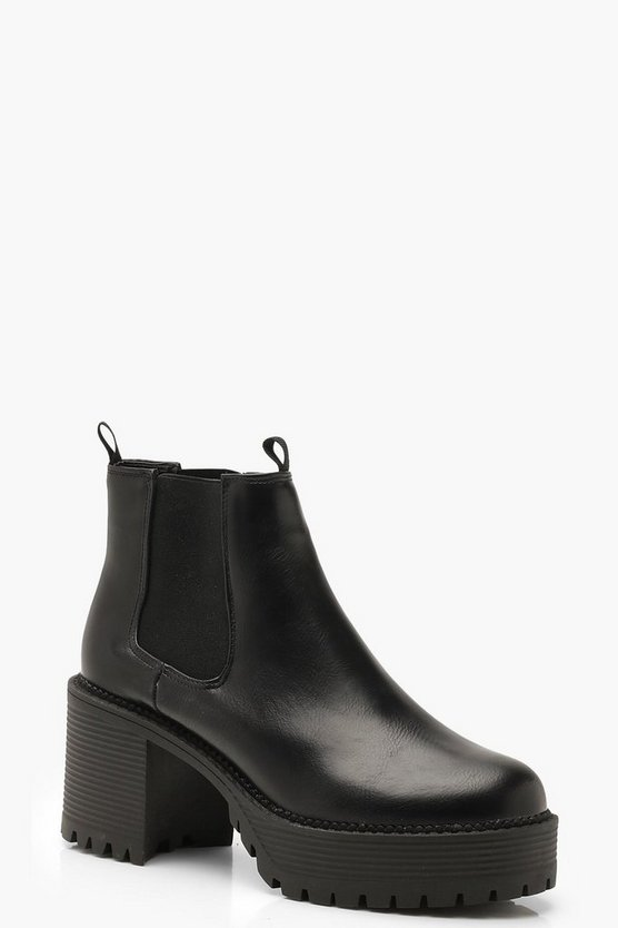 Womens Black Chunky Cleated Chelsea Boots