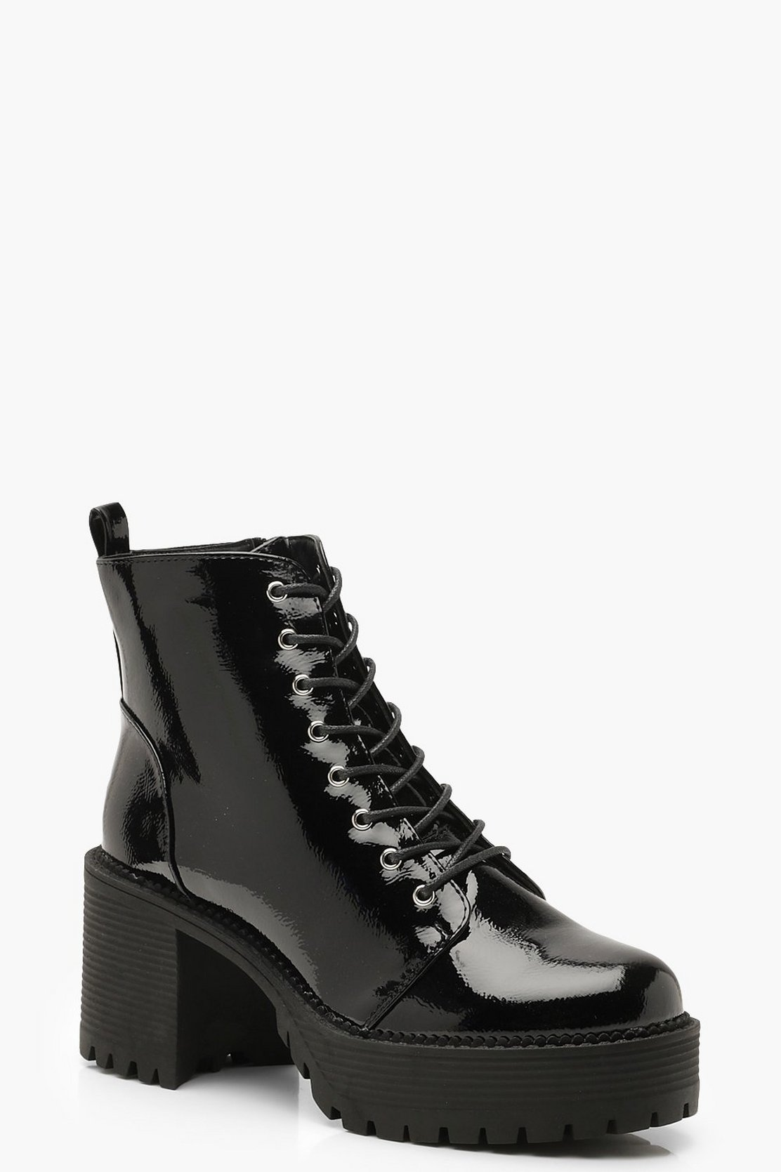 Chunky Heel Lace Up Hiker Boots by Boohoo