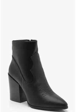 Womens Black Block Heel Western Boots