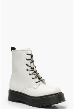 Chunky Lace Up Hiker Boots, White, Donna