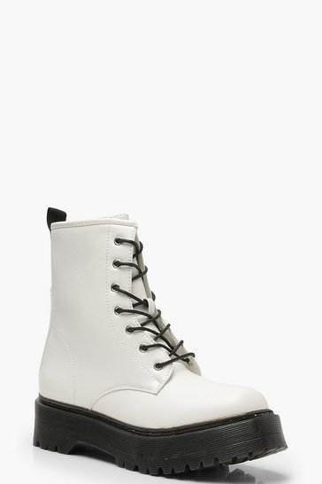Womens White Chunky Lace Up Hiker Boots