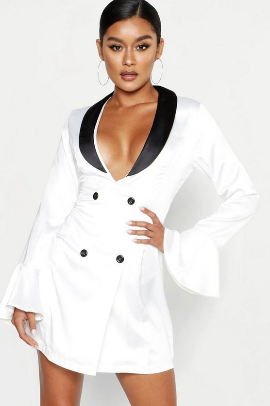 Womens White Flared Sleeve Contrast Plunge Blazer Dress