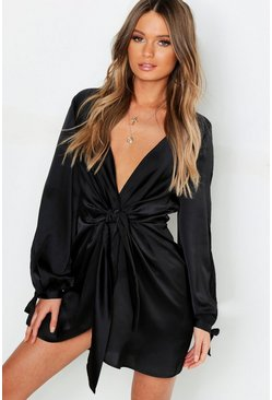 Womens Black Satin Split Sleeve Twist Front Dress
