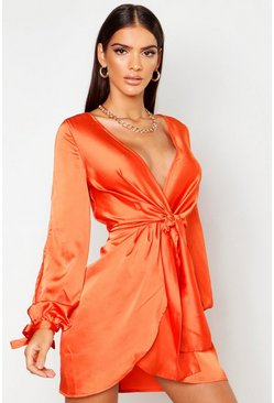 Robe torsadée devant à manches fendues en satin, Orange, Femme