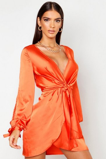 Womens Orange Satin Split Sleeve Twist Front Dress