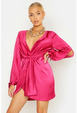 Womens Raspberry Satin Split Sleeve Twist Front Dress