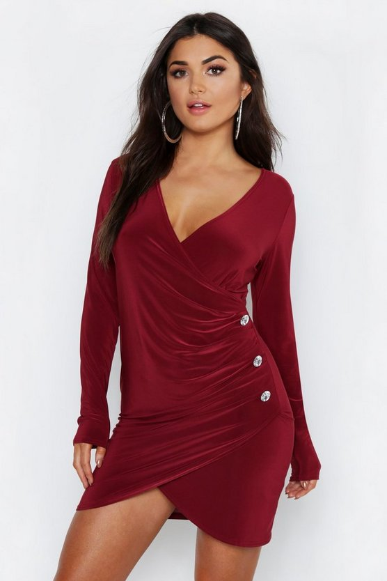 Slinky Wrap Button Detail Bodycon Dress