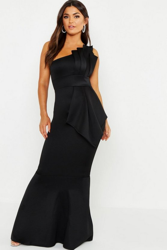 Womens Black One Shoulder Pleated Detail Fishtail Maxi Dress