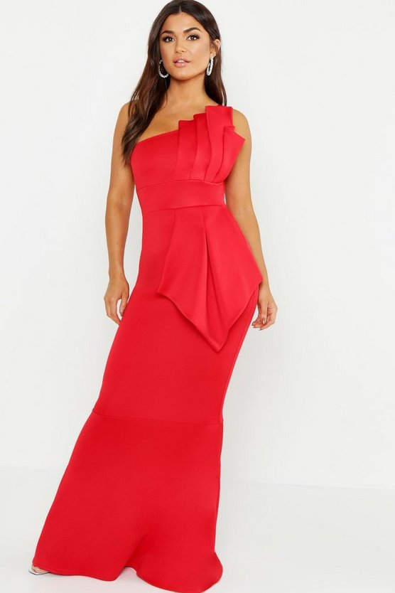 One Shoulder Pleated Detail Fishtail Maxi Dress