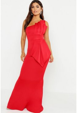 One Shoulder Pleated Detail Fishtail Maxi Dress, Red, Donna