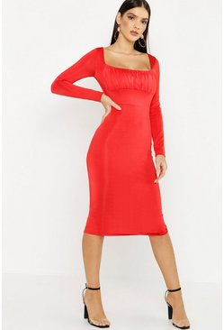 Womens Red Square Neck Ruched Long Sleeve Midi Dress