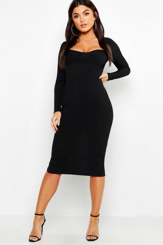 Ribbed Sweetheart Midi Dress