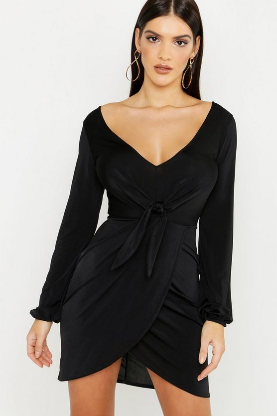 Womens Black Plunge Neck Wrap Bodycon Dress