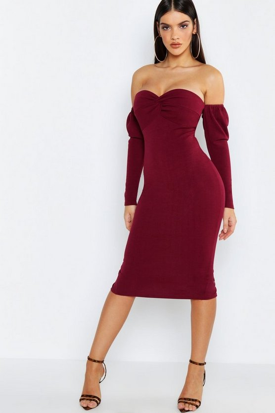 Off The Shoulder Twist Detail Midi Dress