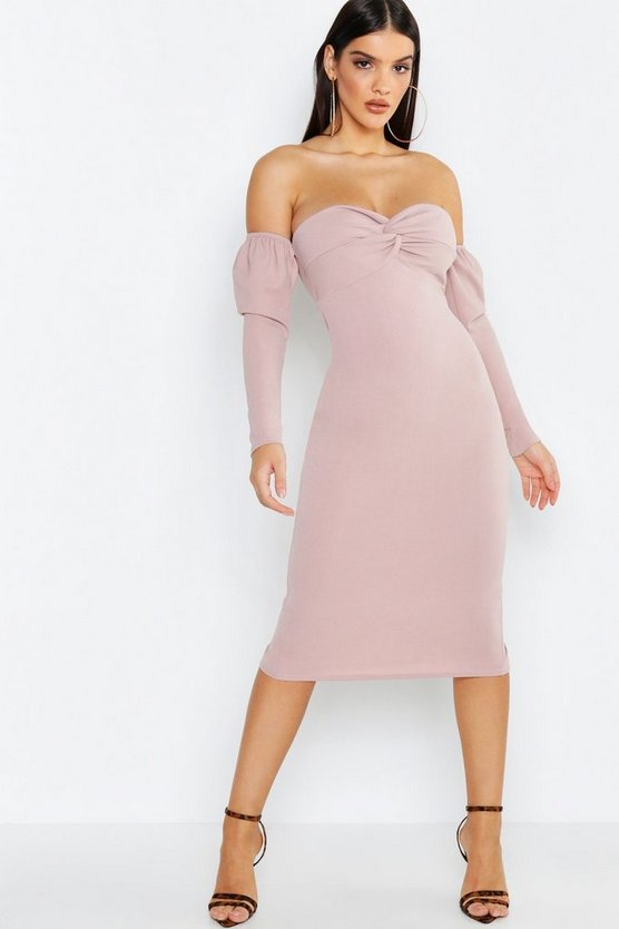 Womens Mink Off The Shoulder Twist Detail Midi Dress