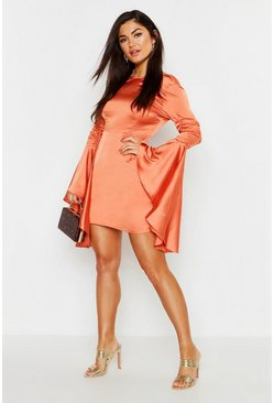 Womens Terracotta Satin Ruched Flared Sleeve Bodycon Dress