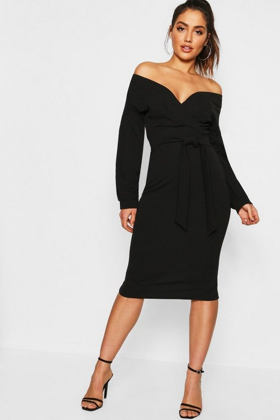 Womens Black Off The Shoulder Wrap Midi Dress