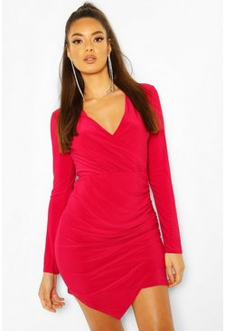 Wrap Long Sleeve Bodycon Dress, Raspberry
