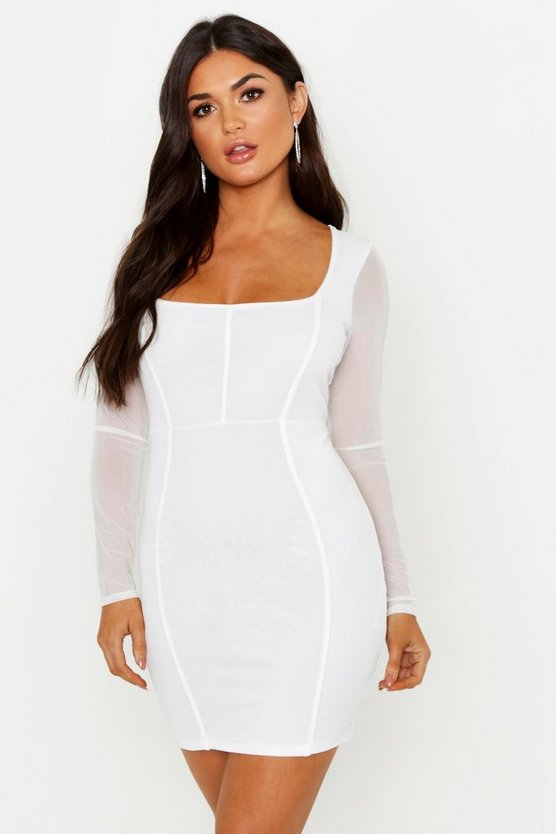 Ivory Mesh Square Neck Long Sleeve Bodycon Dress