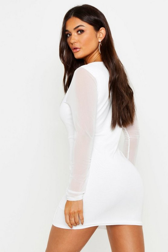Mesh Square Neck Long Sleeve Bodycon Dress