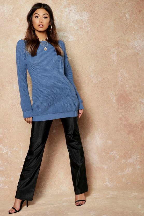 Womens Denim-blue Slash Neck Fisherman Jumper