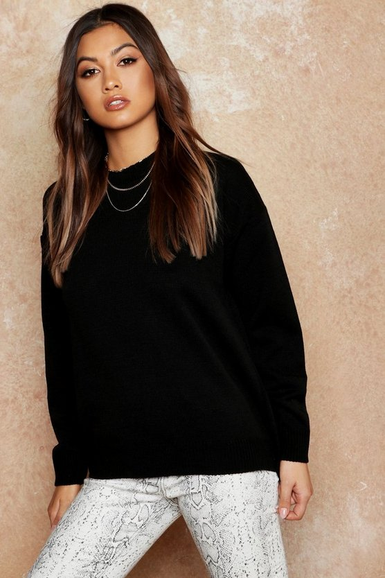 Womens Black Boxy Crew Neck Jumper