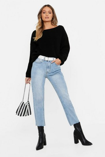 Womens Black V-Back Oversized Jumper