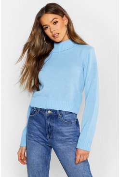 Womens Cream Roll Neck Crop Jumper