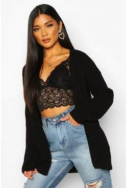 Womens Black Edge To Edge Waffle Knit Cardigan