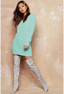 Womens Sage V Neck Sweater Mini Dress