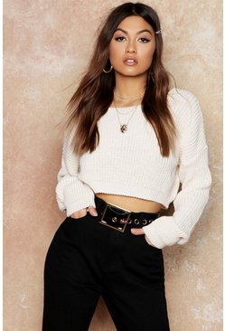 Womens Cream V-Back Crop Jumper