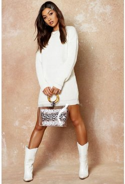 Womens Cream Crew Neck Jumper Dress