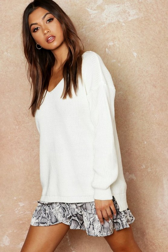 Womens Cream Oversized V Neck Sweater