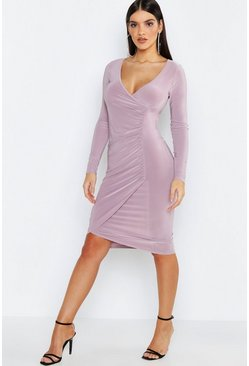 Womens Mauve Ruched Detail Wrap Midi Dress