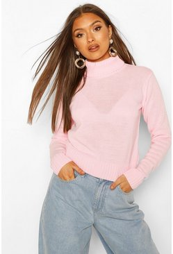 Baby pink Roll Neck Crop Sweater