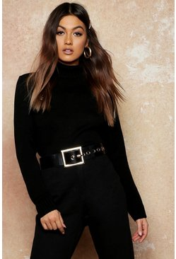 Womens Black Roll Neck Crop Jumper