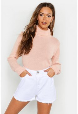 Blush Roll Neck Crop Sweater