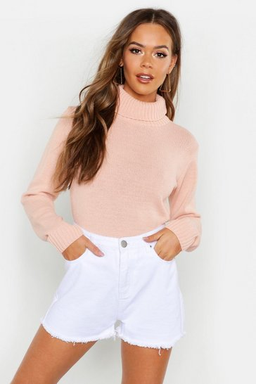 Womens Blush Roll Neck Crop Jumper