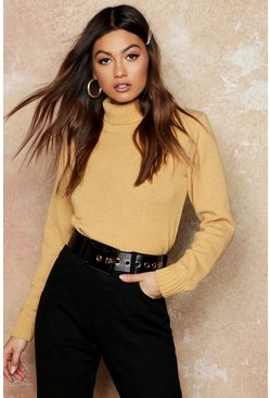 Camel Roll Neck Crop Sweater