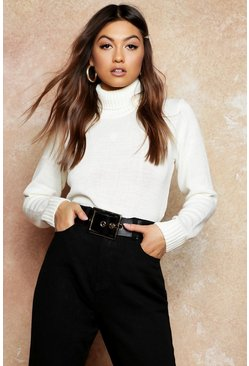 Roll Neck Crop Jumper, Cream, Donna