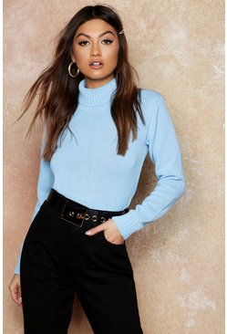 Womens Sky Roll Neck Crop Jumper