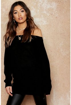 Black Slash Neck Fisherman Jumper