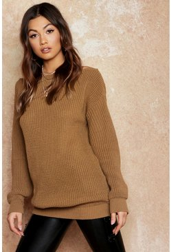 Womens Camel Slash Neck Fisherman Sweater