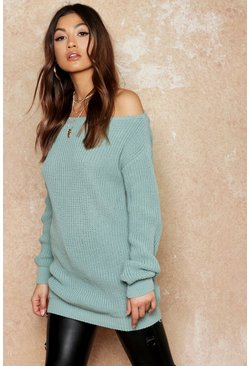 Sage Slash Neck Fisherman Sweater