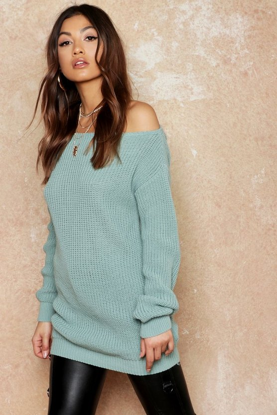 Womens Sage Slash Neck Fisherman Sweater