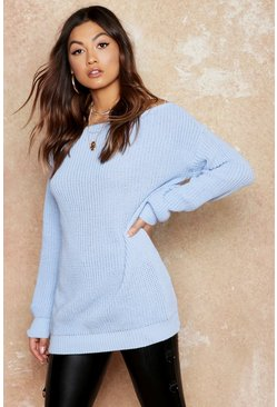 Slash Neck Fisherman Jumper, Camel, Donna