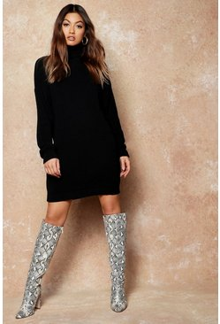 Womens Black Roll Neck Jumper Dress