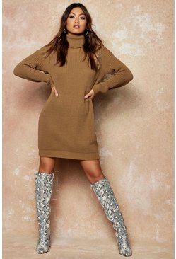 Womens Silver Roll Neck Sweater Dress